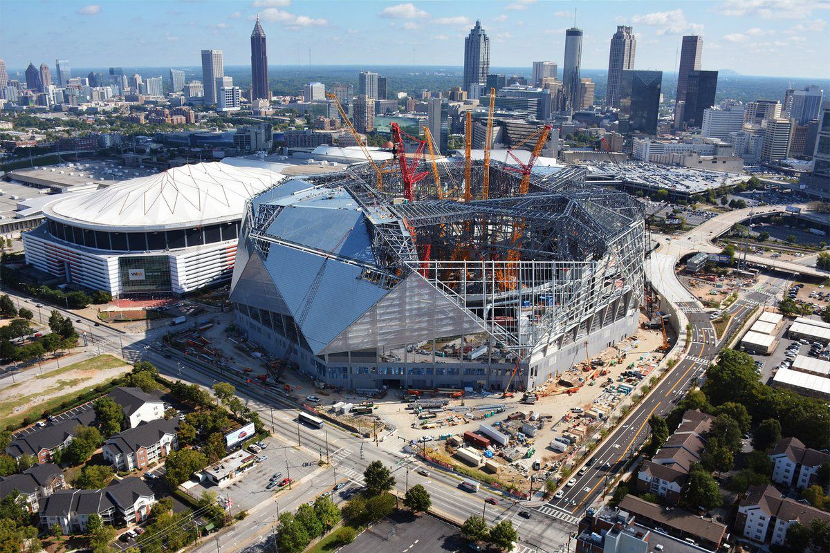 New timeframe estimated for atlanta united s mercedes benz for Hotels near mercedes benz stadium