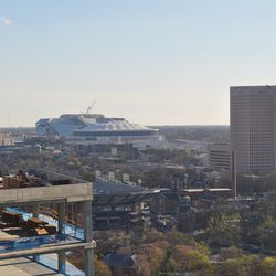 The Georgia Dome and Mercedes-Benz Stadium from the rooftop deck.