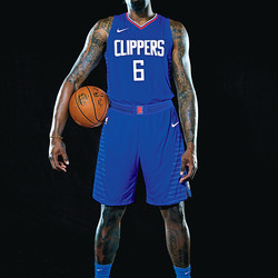 """Front view of DeAndre Jordan wearing the Clippers' new """"Icon edition"""" blue jersey."""