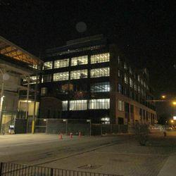 Plaza building from Waveland, interior work in progress