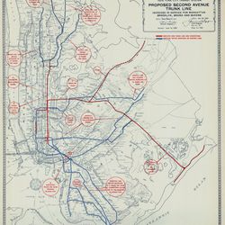 Proposed Second Avenue trunk line map, 1950