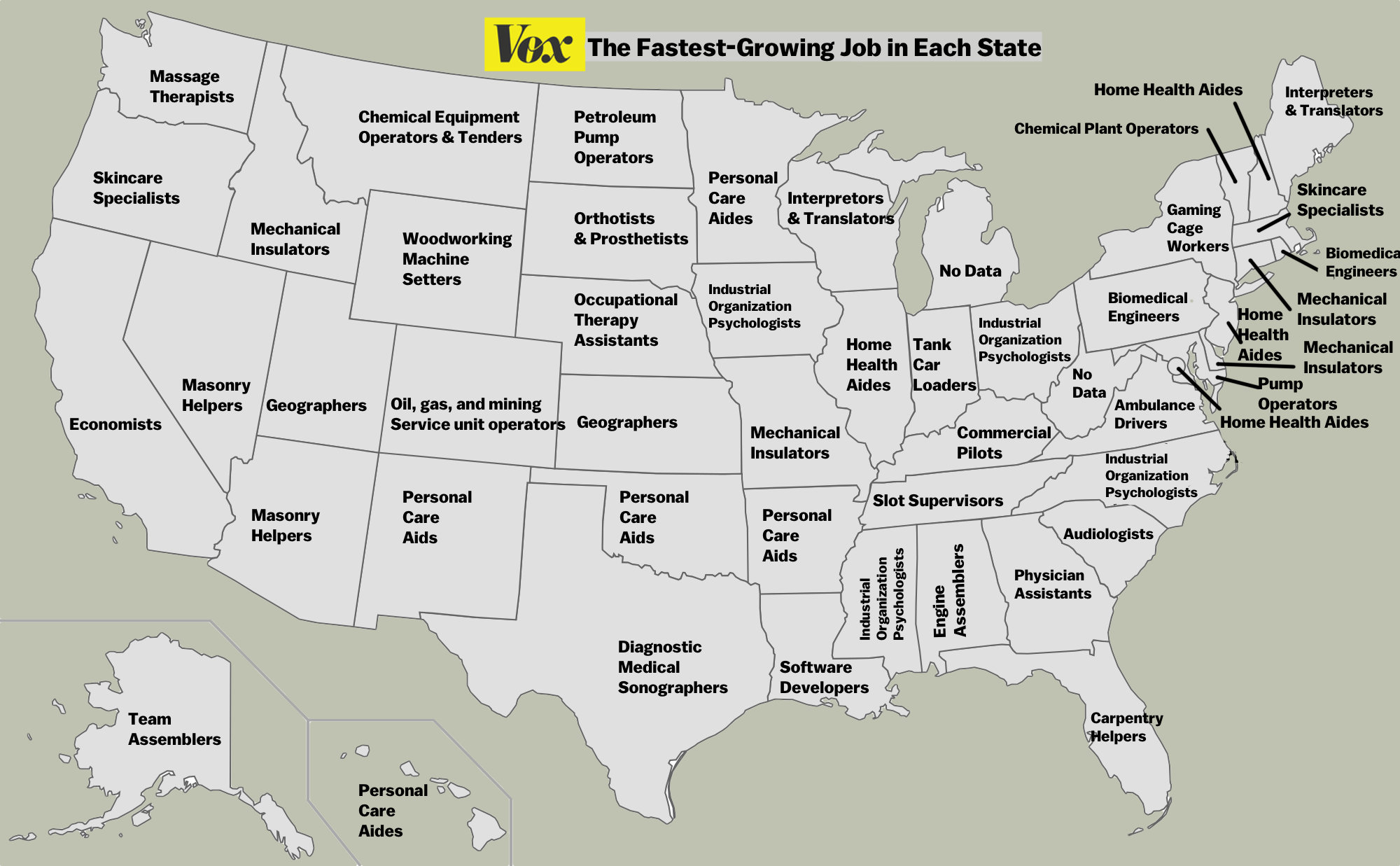 the fastest growing job in each state vox check it all out below mouse over for a zoom