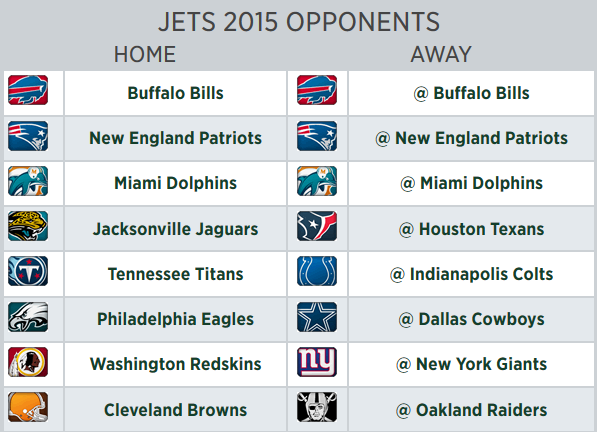 new york jets 2015 schedule opponents set gang green nation
