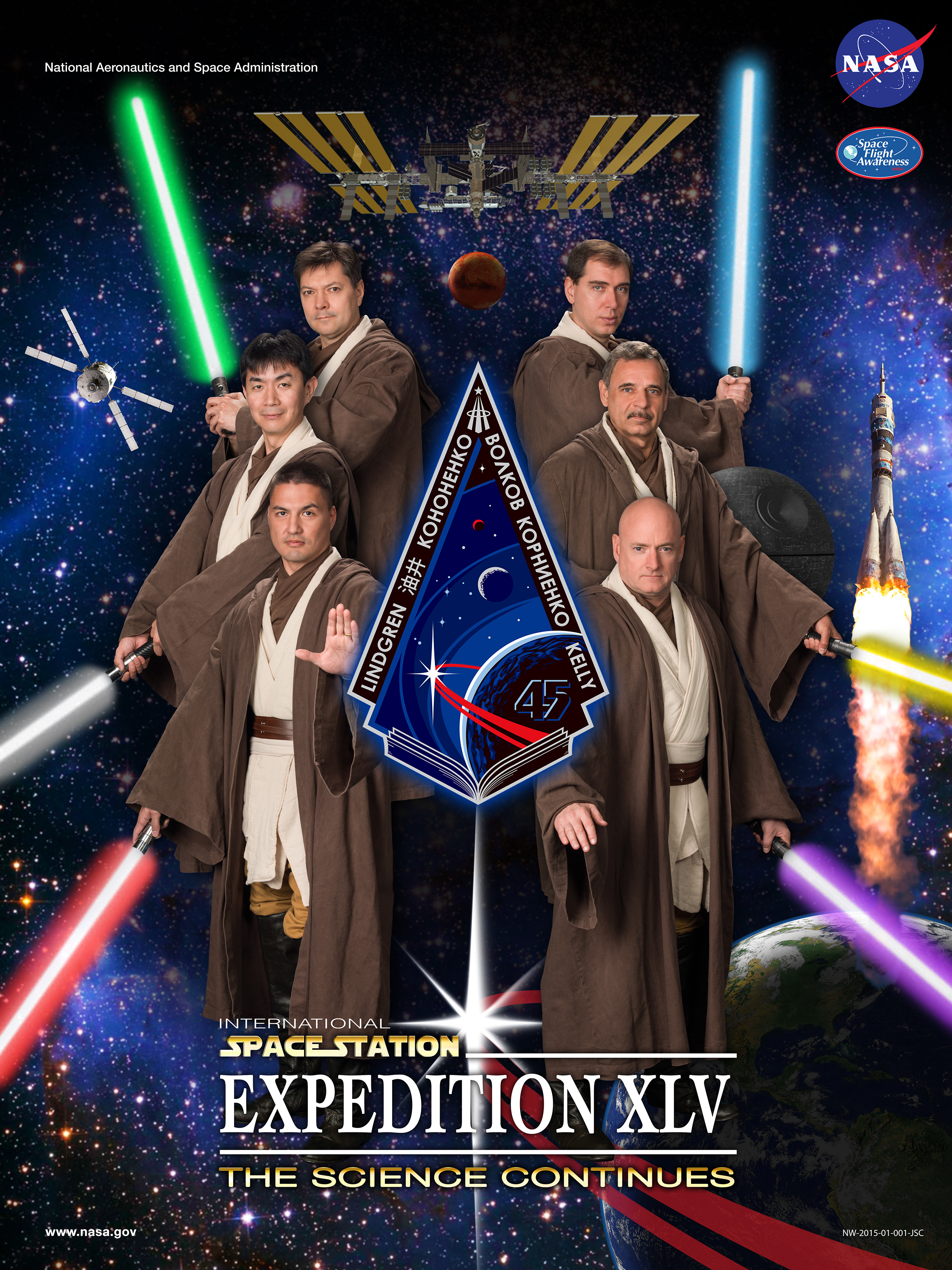 Astronauts Dress As Jedi For NASA Expedition 45 Portrait