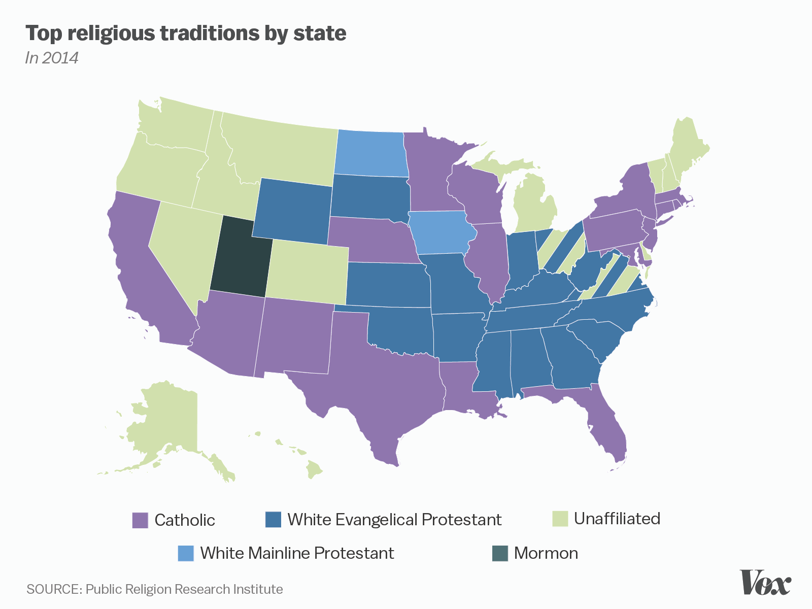 Religious Map Of Us.One Nation Under God Mapped Vox