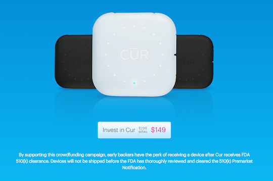 Medical device maker Cur adds disclaimers to crowdfunding