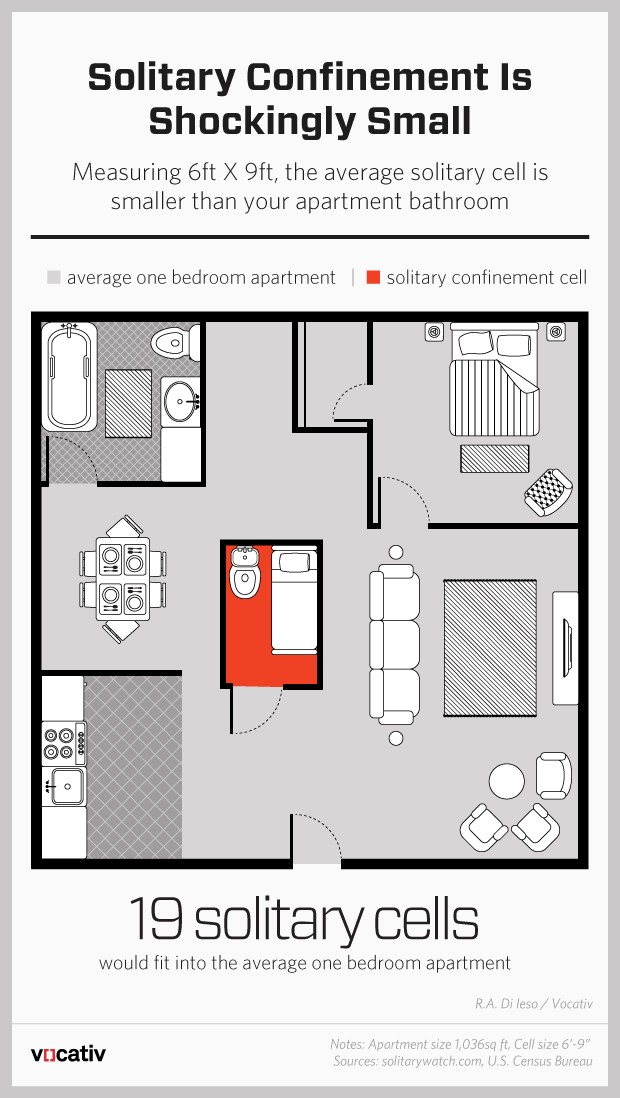 You could fit 19 solitary confinement cells in a typical 1 - Average 1 bedroom apartment size ...