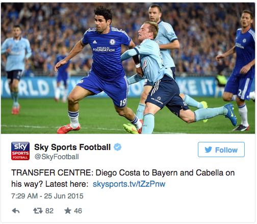 Sky Sports confuse Costas, accidentally send Diego to