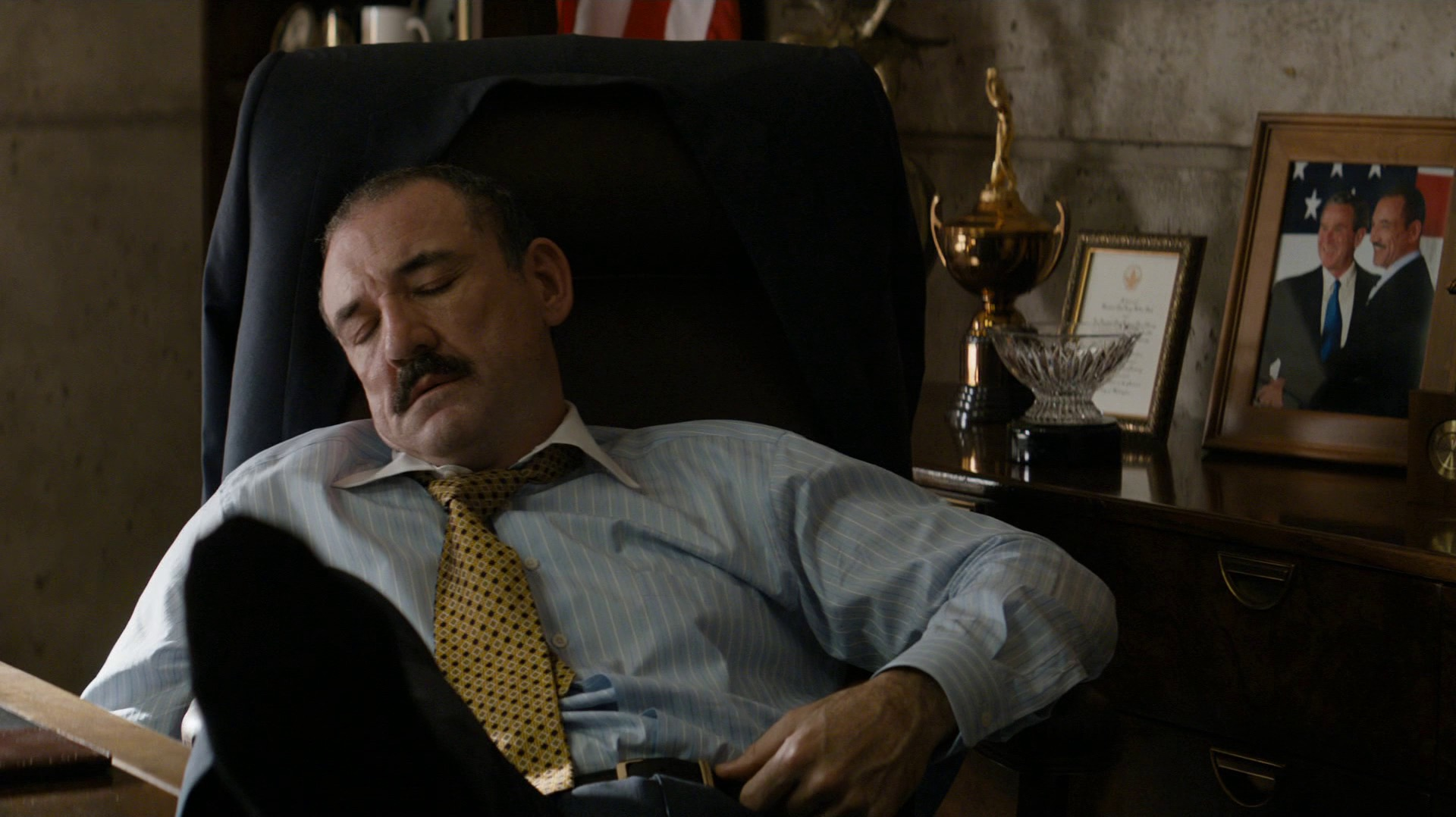Mayor Austin Chessani napping