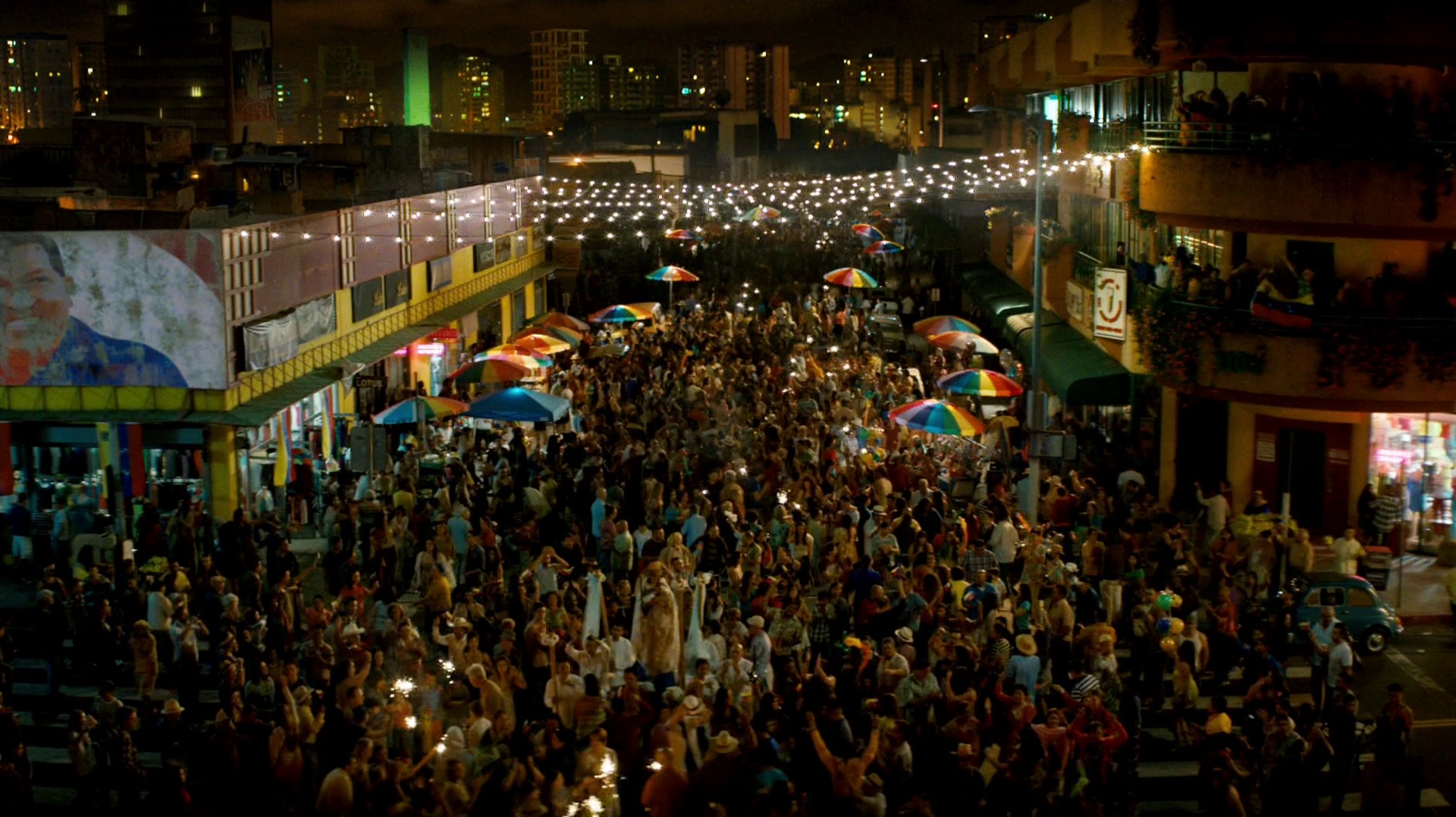 People celebrate in the streets in the final shot of episode eight and True Detective season two