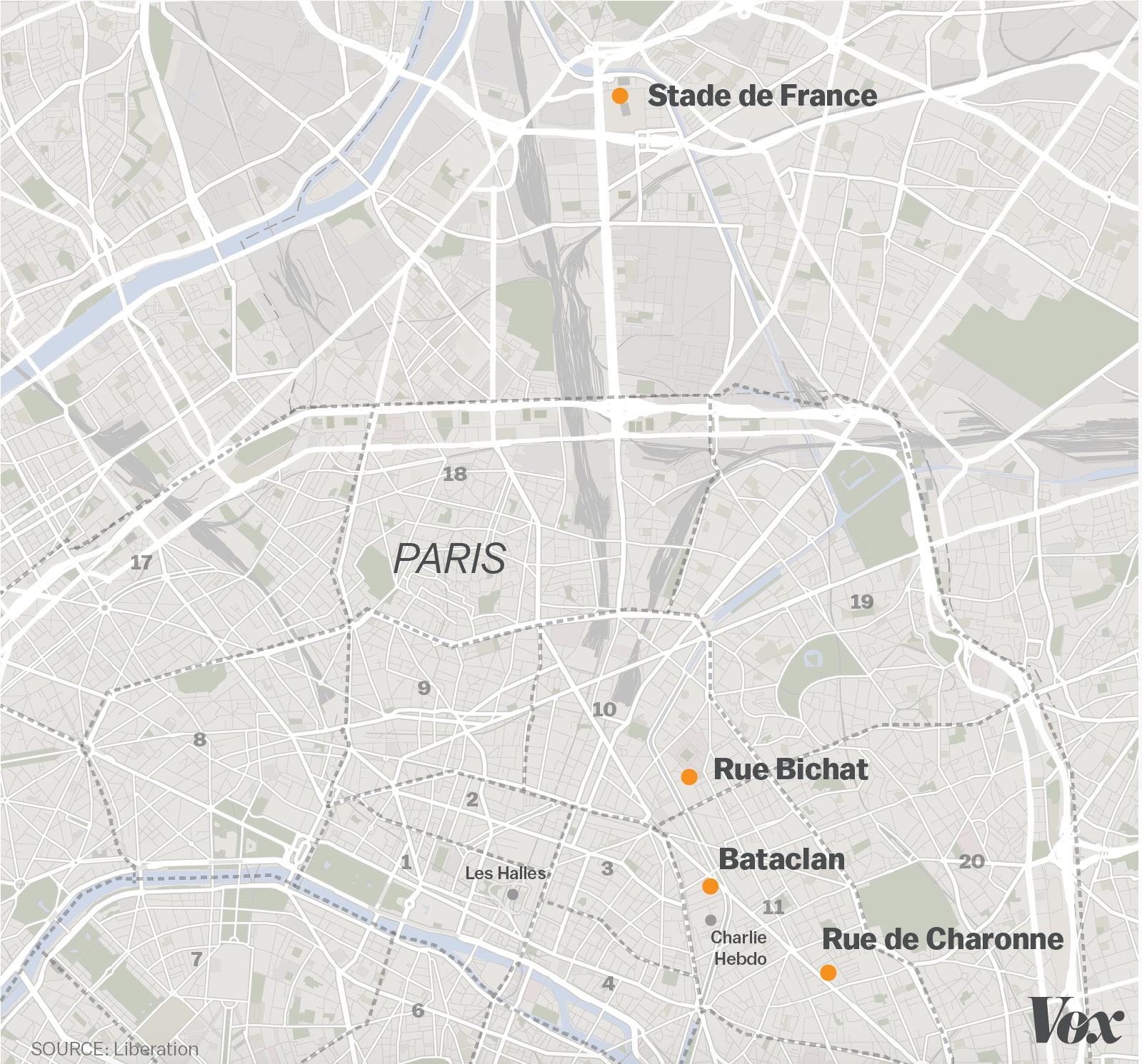 Paris Attacks A Map Of Confirmed Shootings And Bombings Vox