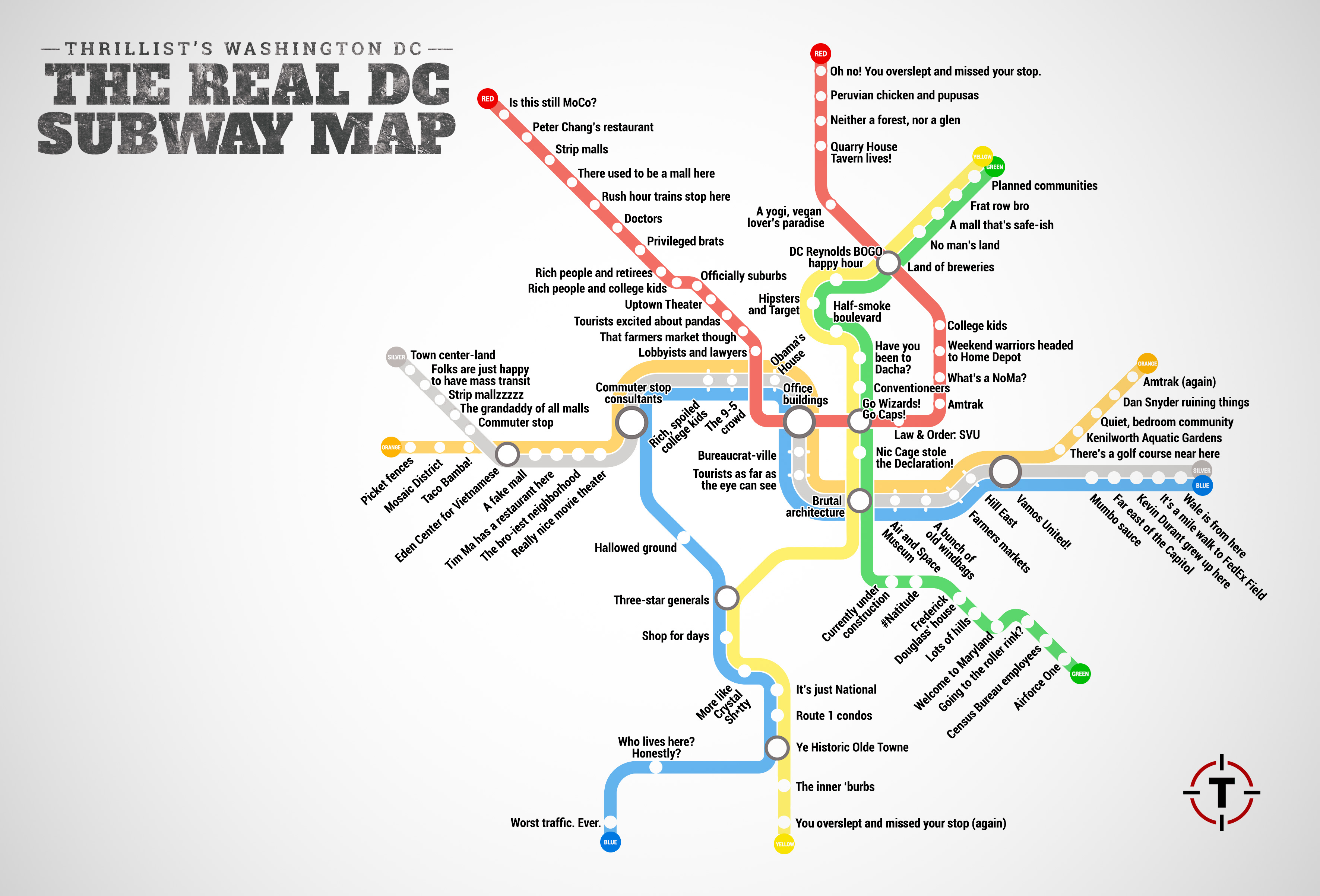 Map Of Washington Dc Metro Thrillist just created the most accurate D.C. Metro map ever