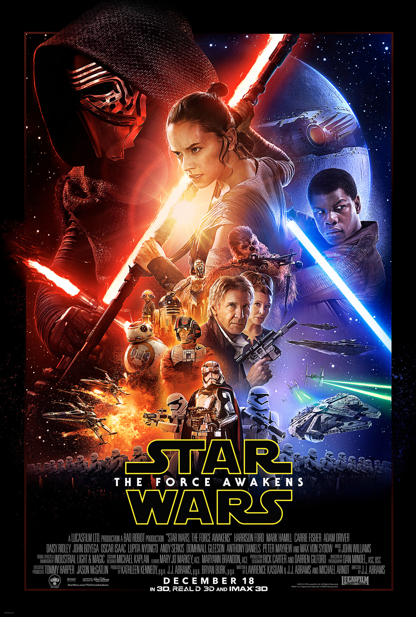 The official theatrical poster for Star Wars: The Force Awakens