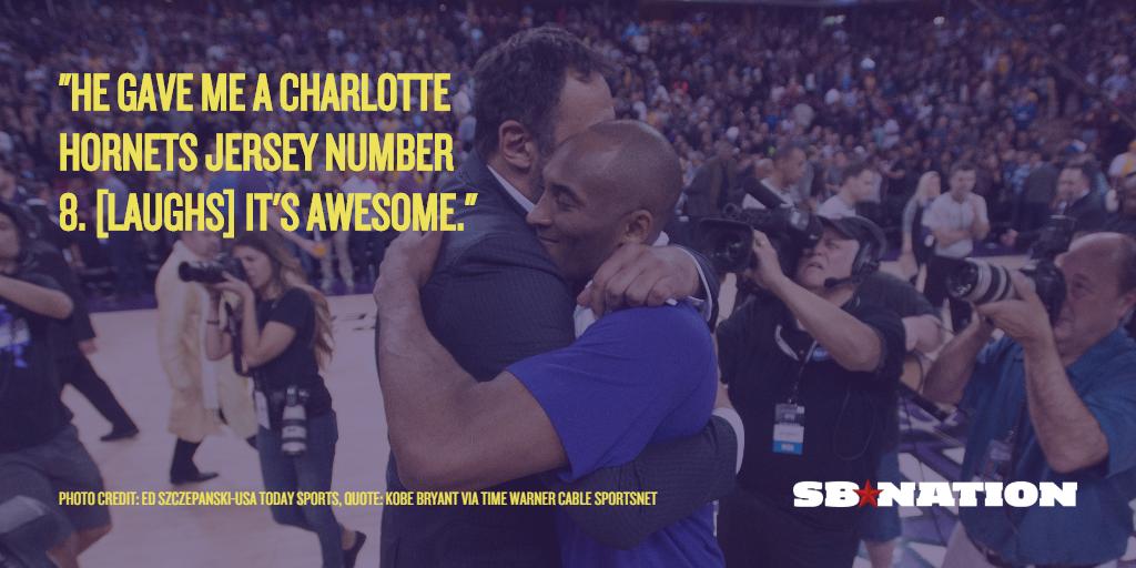 meet 5b336 4ba95 Vlade Divac gave Kobe Bryant a number 8 Charlotte Hornets ...