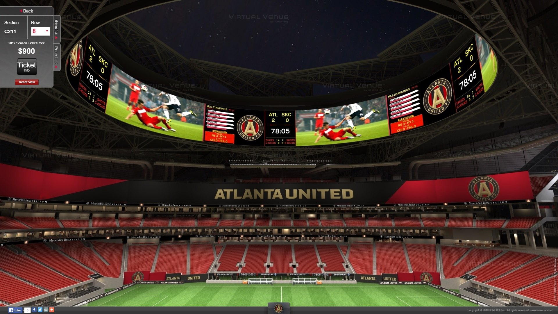 Atlanta united 39 s virtual venue seating for mercedes benz for Mercedes benz stadium seating chart atlanta united