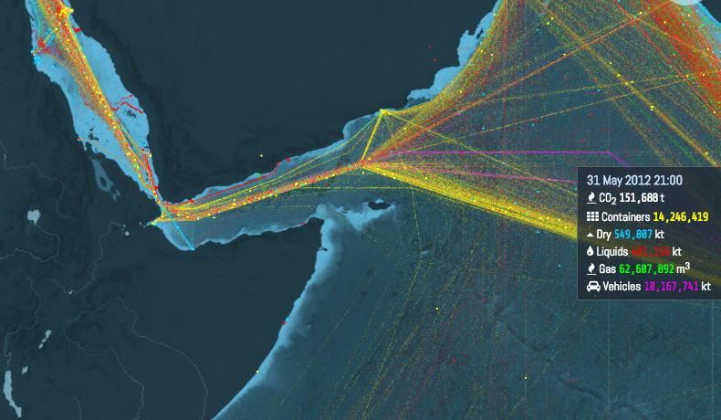 This is an incredible visualization of the world's shipping routes