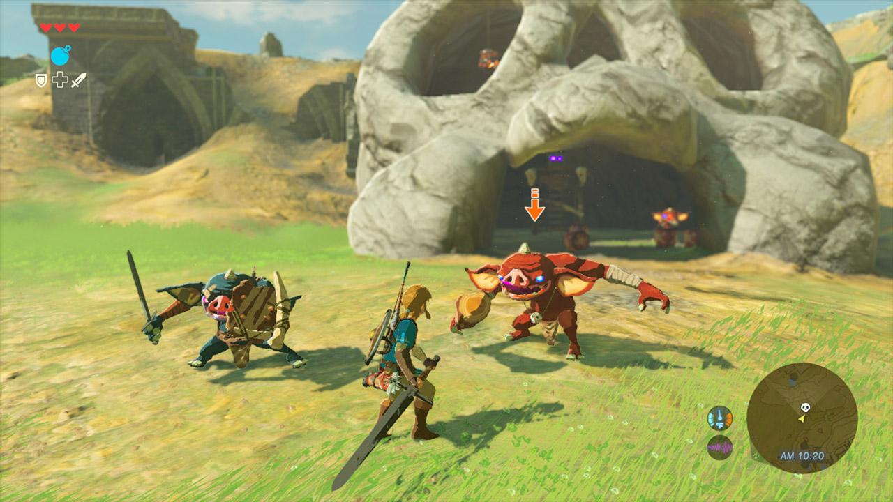 Link fighting Moblins in The Legend of Zelda: Breath of the Wild.