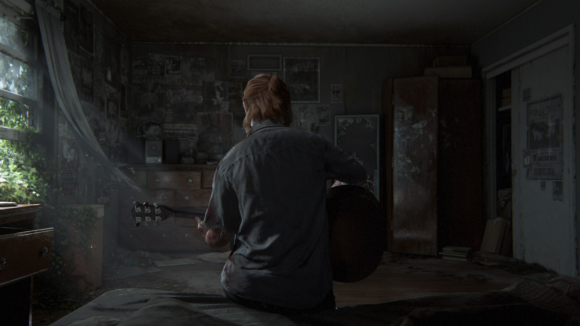 Ellie from The Last of Us Sitting on a Bed Holding a Guitar