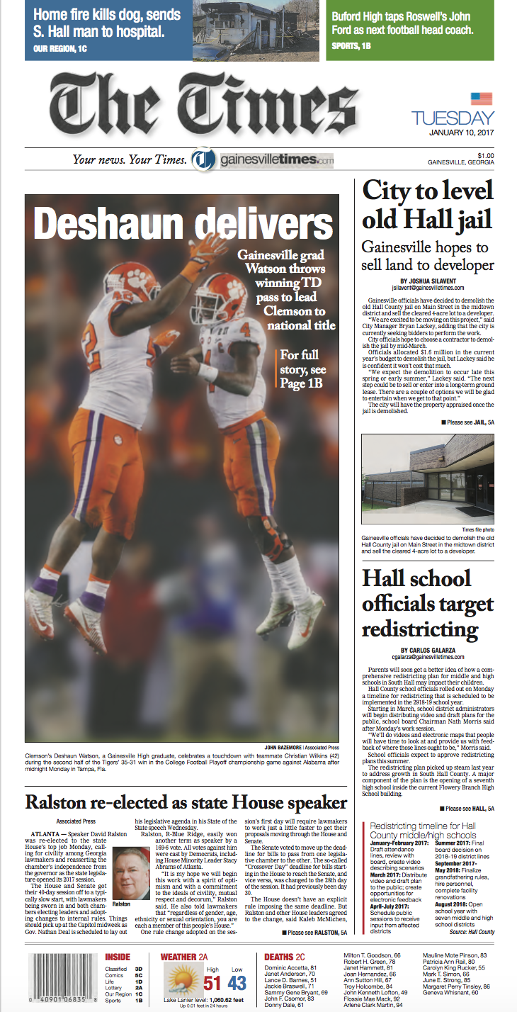 14 Newspaper Front Pages From Clemson S National