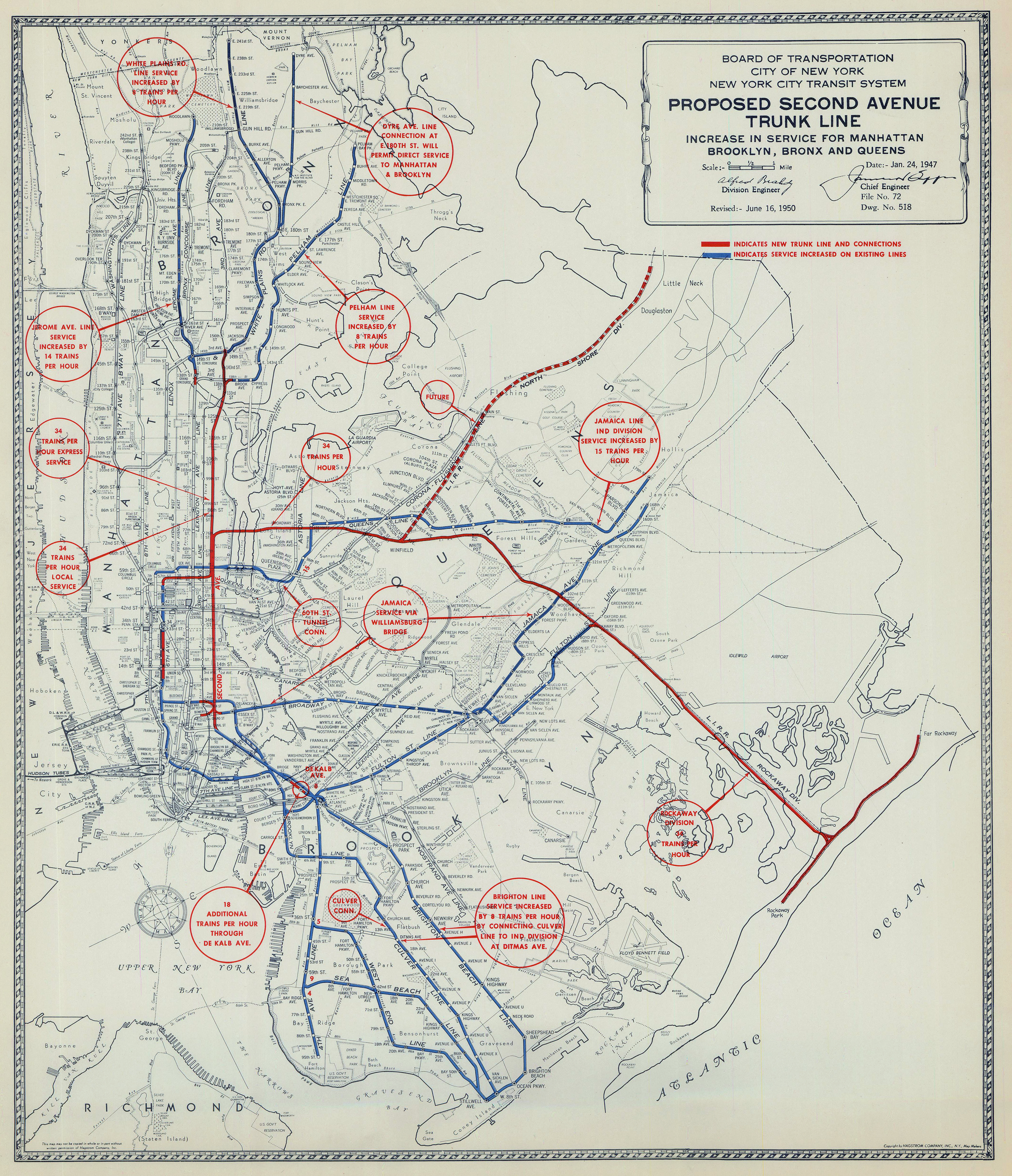 Second Avenue Subways Long Road To Completion Traced In New York - New york city map 1950