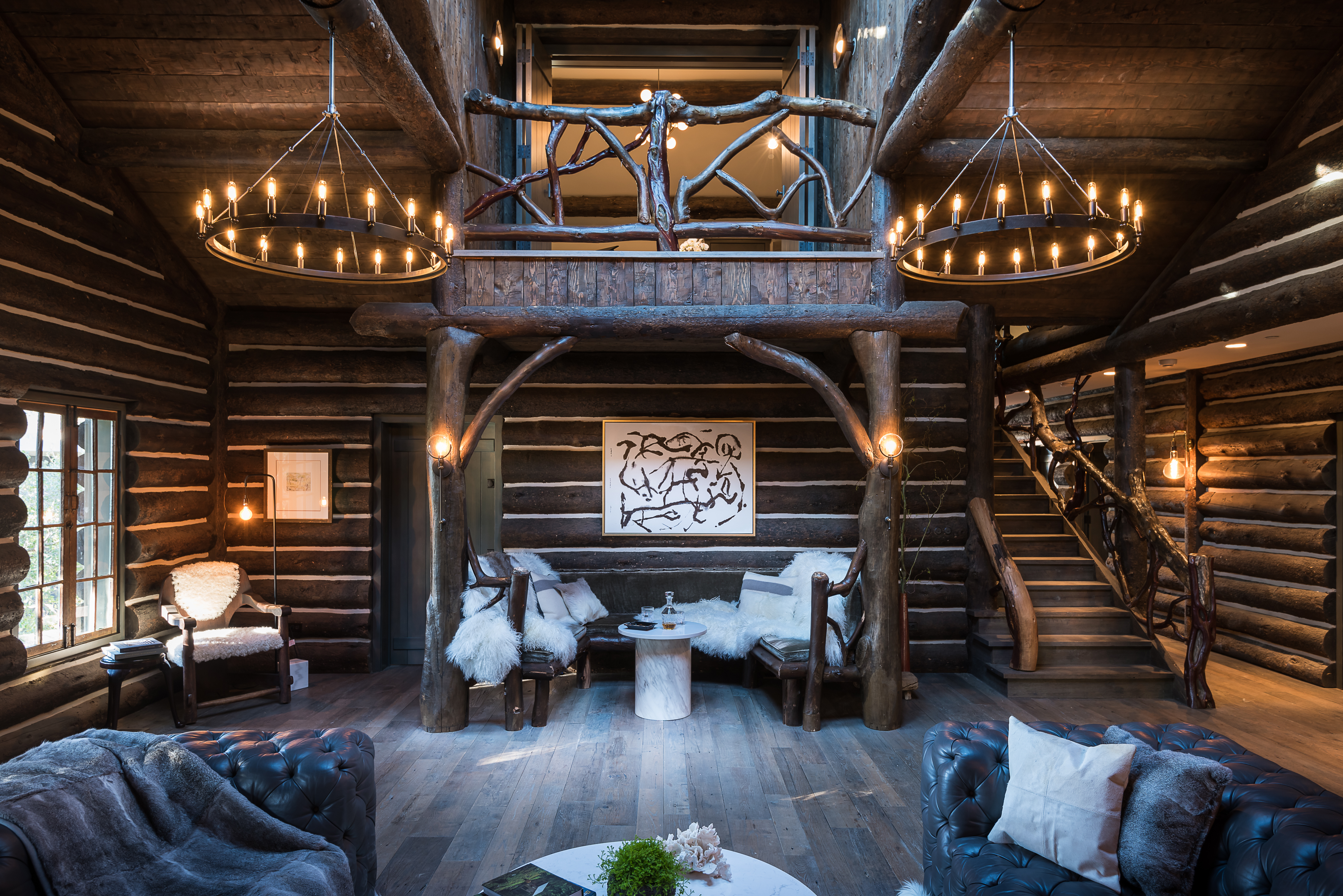 Luxurious rustic canyon log cabin with wild past lists for for Elevated log cabin