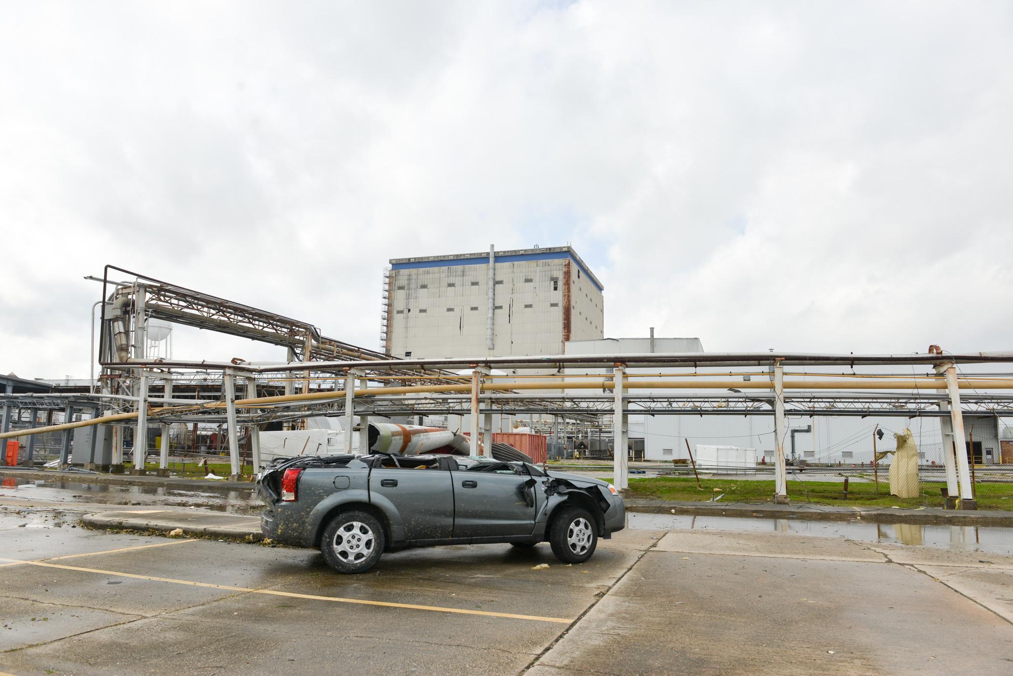 tornado damages nasa facility in new orleans the verge damage to external tank seen behind a parked car at michoud photo nasa