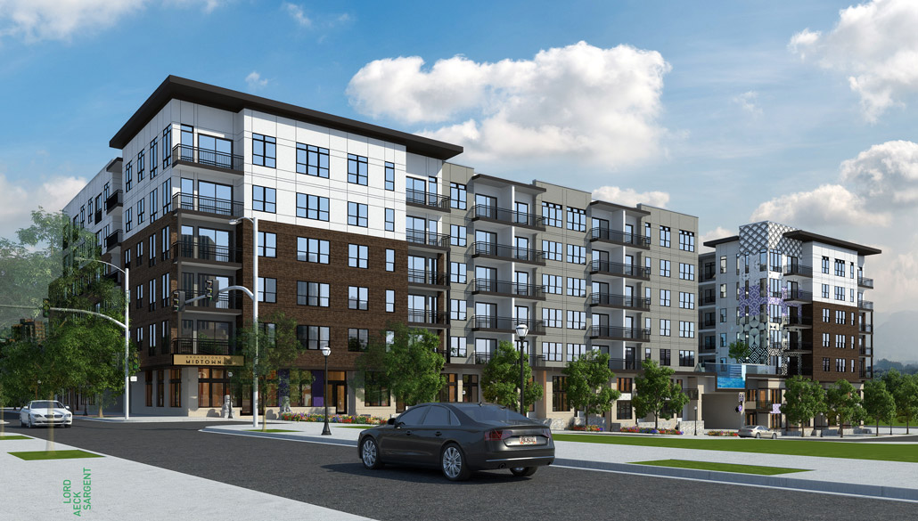 Broadstone midtown on juniper street nears completion for Apartments near mercedes benz stadium