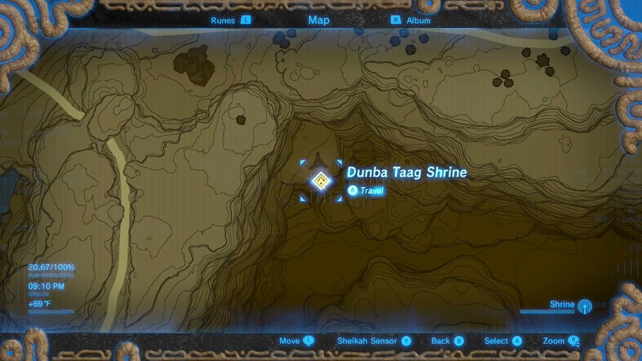 Zelda Breath Of The Wild Guide Dunba Taag Shrine