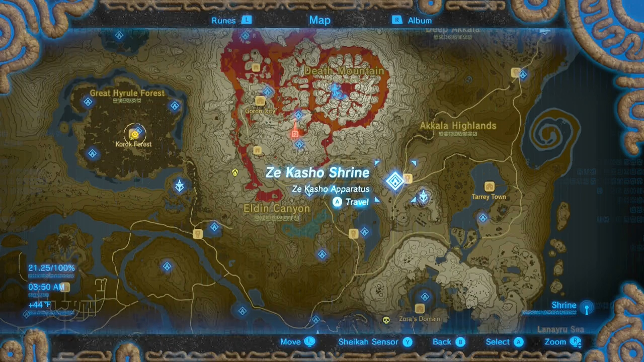 zelda breath of the wild guide ze kasho shrine location