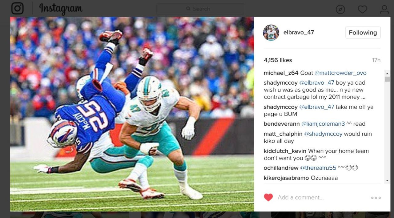 LeSean McCoy calls Kiko Alonso a 'bum' on Instagram
