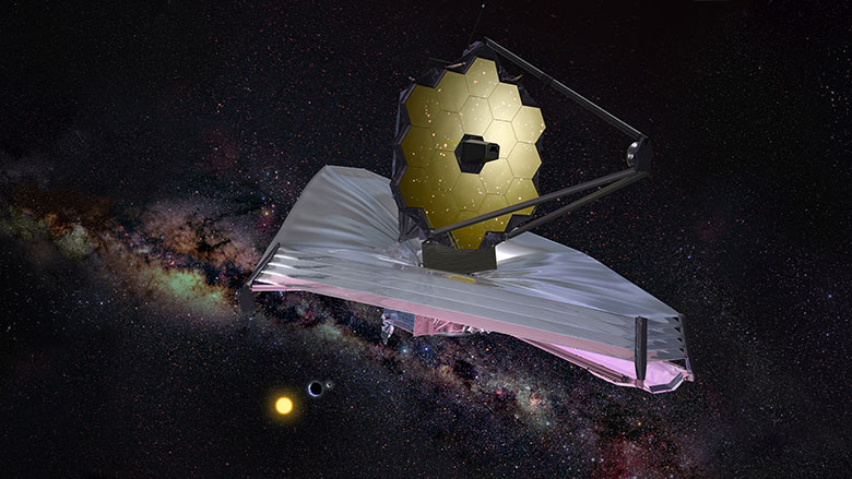 An artistic rendering of JWST which will be able to study the atmosphere of LHS1140b in more detail.        NASA