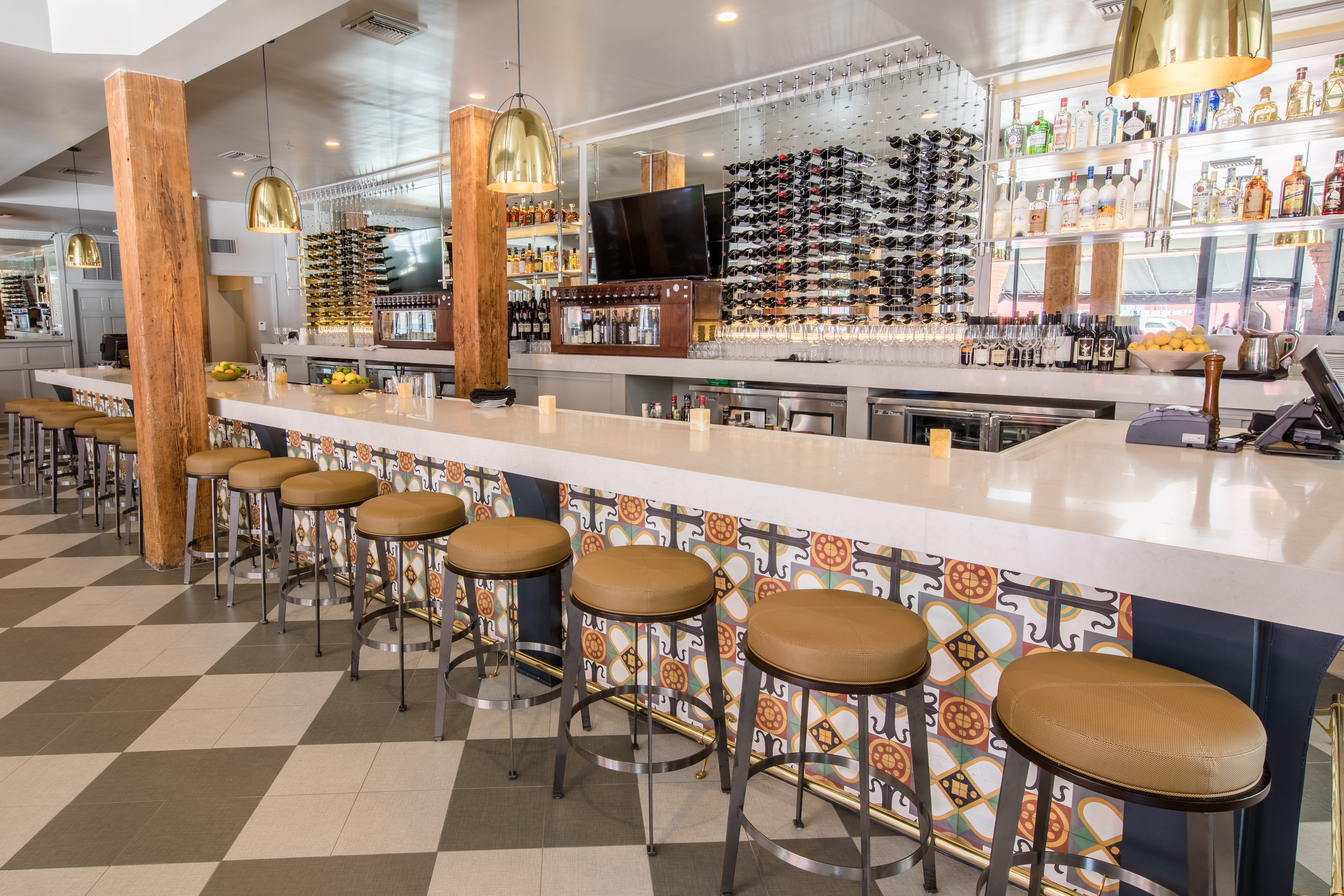 The Long Bar Along Back Got A Bright Update During Renovation Space Feels Lighter BRASTED