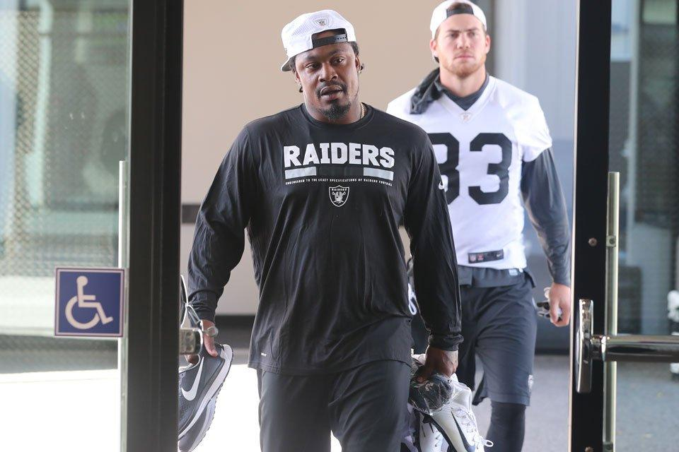 Marshawn Lynch enters the workout facility at Raiders headquarters for offseason  workouts Oakland Raiders. Marshawn Lynch takes the field ... 1d64dbbc6