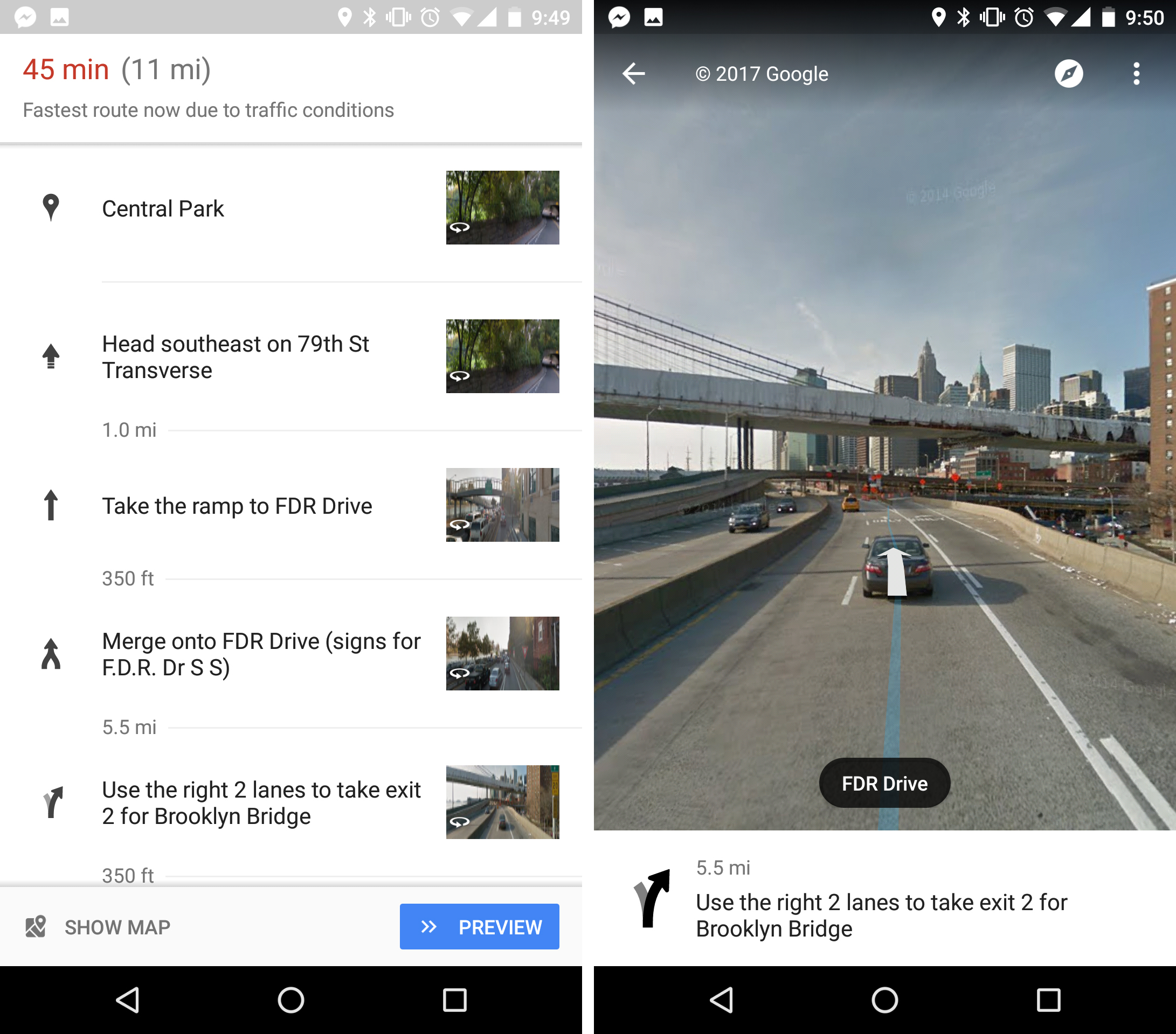 Google Maps uses Street View to keep you on the right path